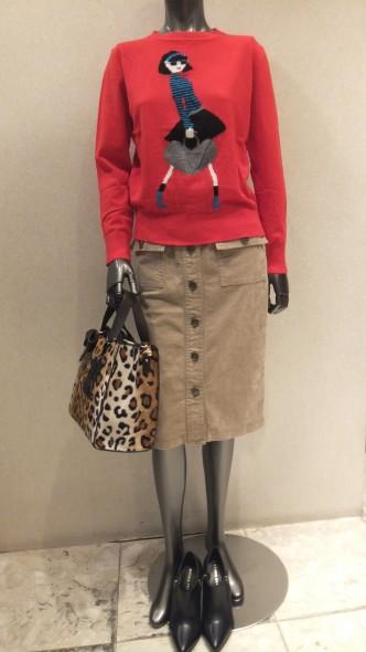 femiciteタイト前ボタンスカート&minuetoショッピングガールセーター