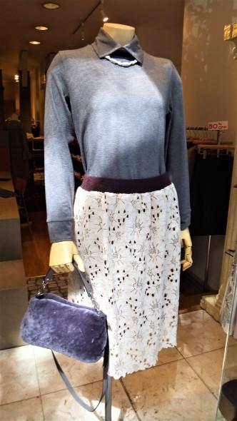 SHIRATA襟対カットソー&Respecレーススカート