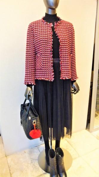 インポートのジャケットにチュールスカートを合わせて♪I BLUESツイードジャケット&PARL MASELチュールスカート