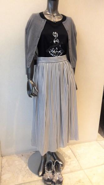 ストライプ&ボーダーコーディネート♪ Yanganyストライプスカート&NOUQUE女の子Tシャツ&DUAL VIEWうすうすカーデ&RESPECボーダーワンピース